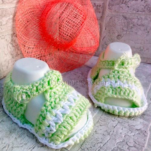 Sandalias bebé lima y blanco