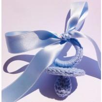 Chupete de ganchillo azul