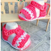 Sandalias ganchillo rosa y blanco