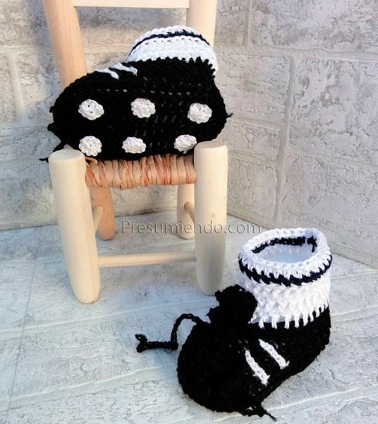 Botas de fútbol de ganchillo para bebé