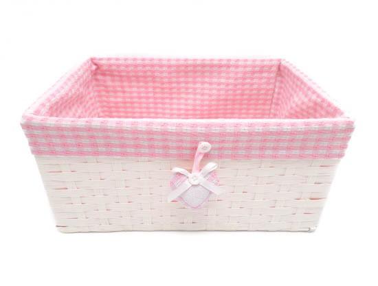 Canastilla bebé rosa