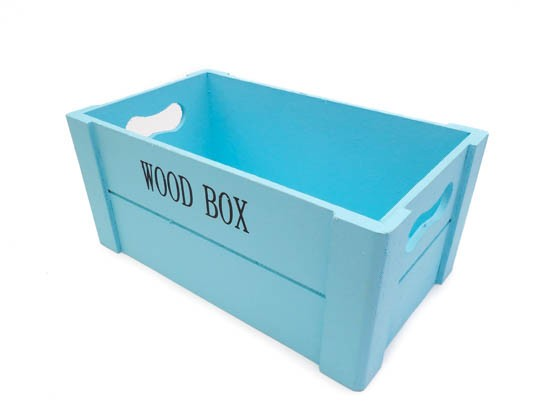 Canastilla de madera Wood Box Azul