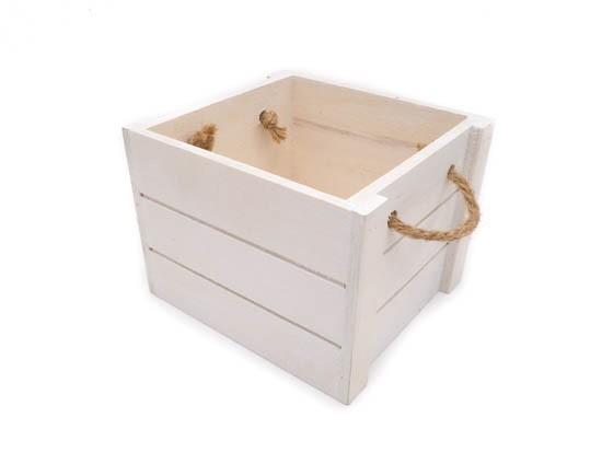 Cesta de madera para bebé blanco