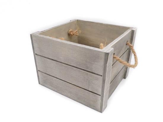 Cesta de madera para bebé gris