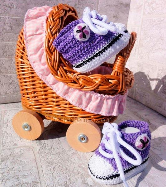 Zapatillas de ganchillo lila