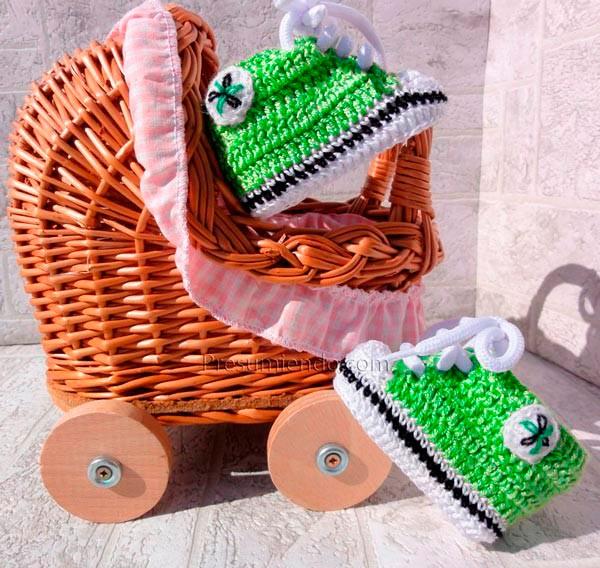 Zapatillas de ganchillo verde