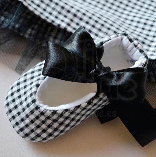 Zapatos para bebé vichy negro