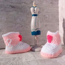 Botas de crochet blanco rosa